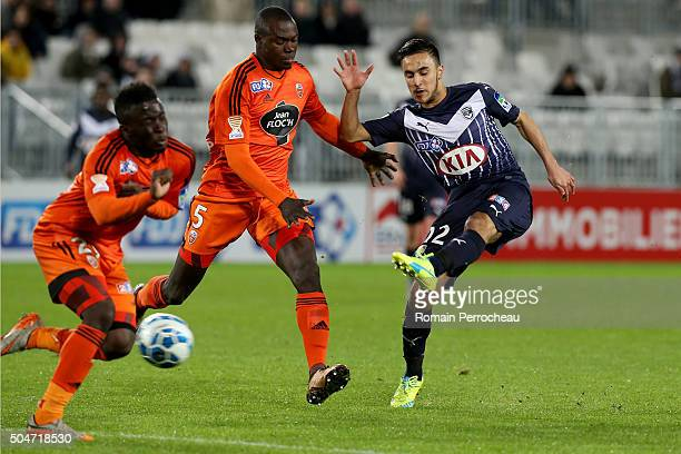 Adam Ounas for Bordeaux Zargo Toure and Pape Paye for Lorient in action during the French League Cup quarter final between Bordeaux and Lorient at...