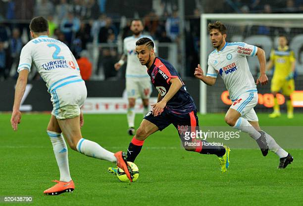 Adam Ounas from Bordeaux in action during the French League 1 match between Olympique de Marseille and FC Girondins de Bordeaux at Stade Velodrome on...