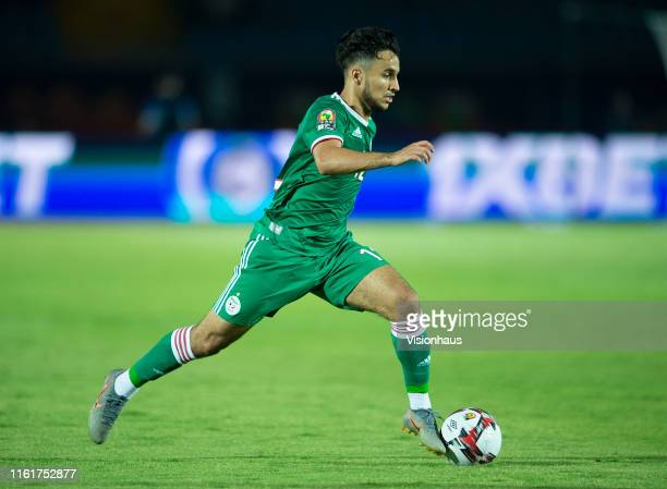 Adam Ounas of Algeria during the 2019 Africa Cup of Nations quarterfinal match between Ivory Coast and Algeria at Suez Stadium on July 11 2019 in...