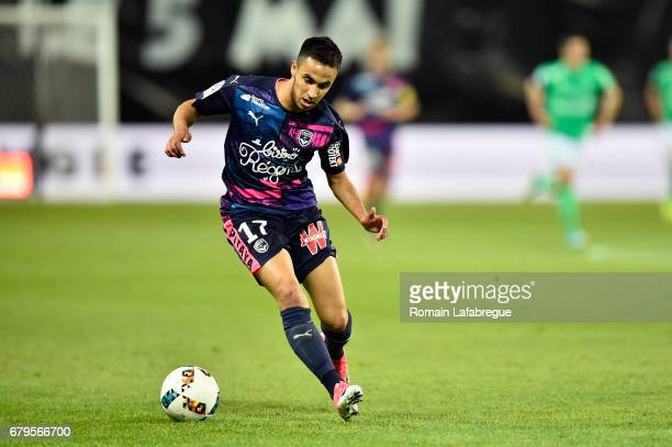 Adam Ounas of Bordeaux during the Ligue 1 match between As Saint Etienne and Girondins de Bordeaux at Stade GeoffroyGuichard on May 5 2017 in...