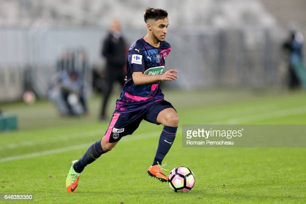Adam Ounas of Bordeaux in action during a French cup match between Bordeaux and Lorient at Stade Matmut Atlantique on February 28 2017 in Bordeaux...
