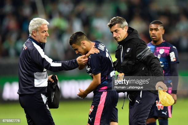 Adam Ounas of Bordeaux is injured during the Ligue 1 match between As Saint Etienne and Girondins de Bordeaux at Stade GeoffroyGuichard on May 5 2017...