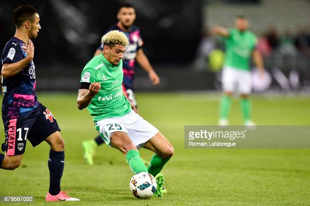 Adam Ounas of Bordeaux Kevin Malcuit of Saint Etienne during the Ligue 1 match between As Saint Etienne and Girondins de Bordeaux at Stade...