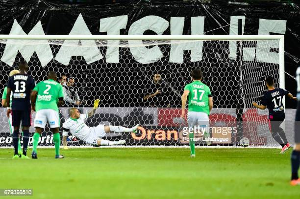 Adam Ounas of Bordeaux scores a penalty during the Ligue 1 match between As Saint Etienne and Girondins de Bordeaux at Stade GeoffroyGuichard on May...