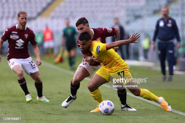 Adam Ounas of Cagliari Calcio in action during the Serie A match between Torino Fc and Cagliari Calcio Cagliari Calcio wins 32 over Torino Fc