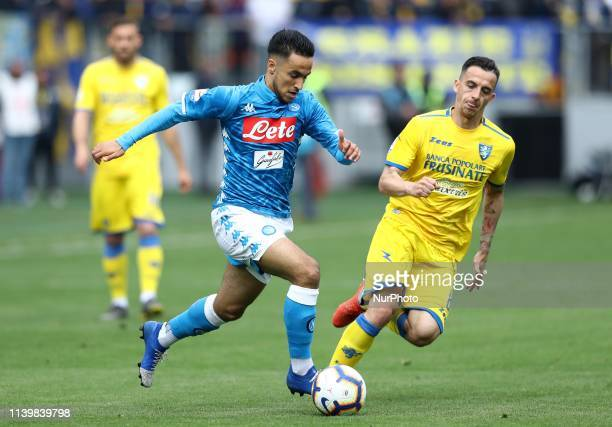 Adam Ounas of Napoli and Raffaele Maiello of Frosinone during the Italian Serie A football match Frosinone v SSC Napoli at the Benito Stirpe Stadium...