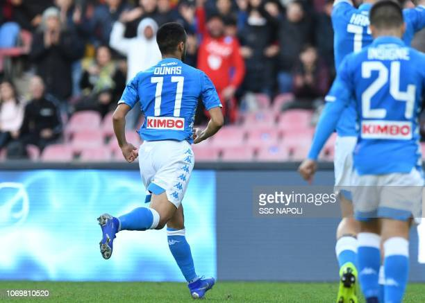 Adam Ounas of Napoli celebrates after scoring the first goa during the Serie A match between SSC Napoli and Frosinone Calcio at Stadio San Paolo on...