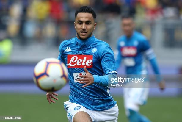 Adam Ounas of Napoli during the Italian Serie A football match Frosinone v SSC Napoli at the Benito Stirpe Stadium in Frosinone Italy on April 28 2019