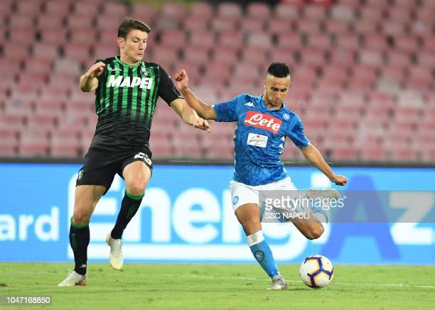 Adam Ounas of Napoli during the Serie A match between SSC Napoli and US Sassuolo at Stadio San Paolo on October 7 2018 in Naples Italy