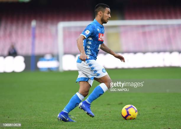 Adam Ounas of Napoli during the Serie A match between SSC Napoli and Frosinone Calcio at Stadio San Paolo on December 8 2018 in Naples Italy