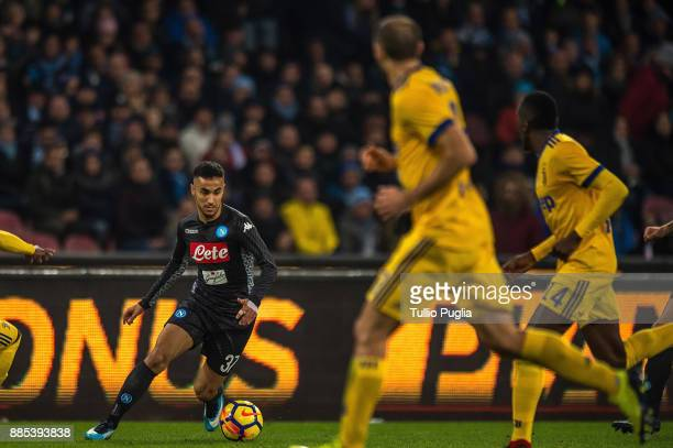 Adam Ounas of Napoli in action during the Serie A match between SSC Napoli and Juventus at Stadio San Paolo on December 1 2017 in Naples Italy