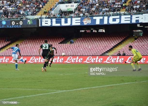 Adam Ounas of Napoli scores th e 10 goal during the Serie A match between SSC Napoli and US Sassuolo at Stadio San Paolo on October 7 2018 in Naples...