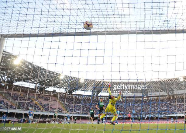Adam Ounas of Napoli scores th e 10 goal of Napoli during the Serie A match between SSC Napoli and US Sassuolo at Stadio San Paolo on October 7 2018...