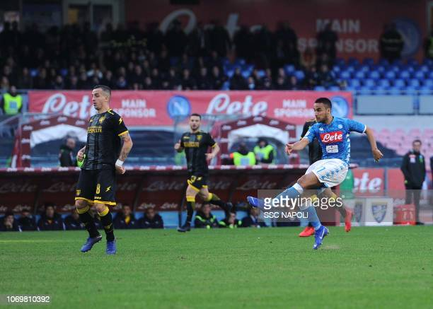 Adam Ounas of Napoli scores the 20 goal during the Serie A match between SSC Napoli and Frosinone Calcio at Stadio San Paolo on December 8 2018 in...