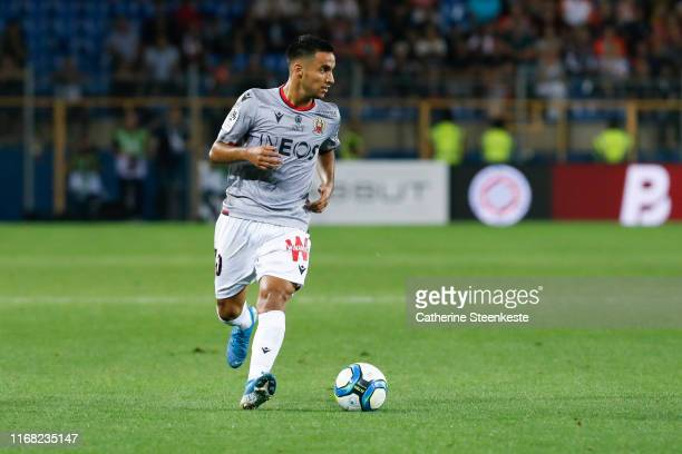 Adam Ounas of OGC Nice controls the ball during the Ligue 1 match between Montpellier HSC and OGC Nice at Stade de la Mosson on September 14, 2019 in...