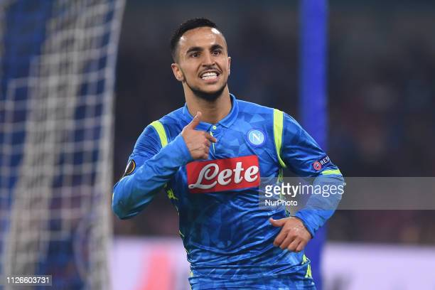 Adam Ounas of SSC Napoli celebrates after scoring 20 during the UEFA Europa League Round of 32 Second Leg match between SSC Napoli and FC Zurich at...