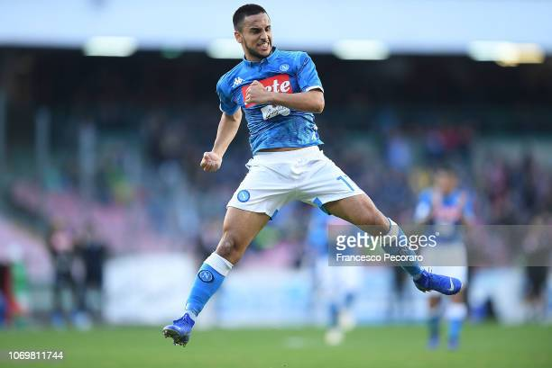 Adam Ounas of SSC Napoli celebrates after scoring the 20 goal during the Serie A match between SSC Napoli and Frosinone Calcio at Stadio San Paolo on...
