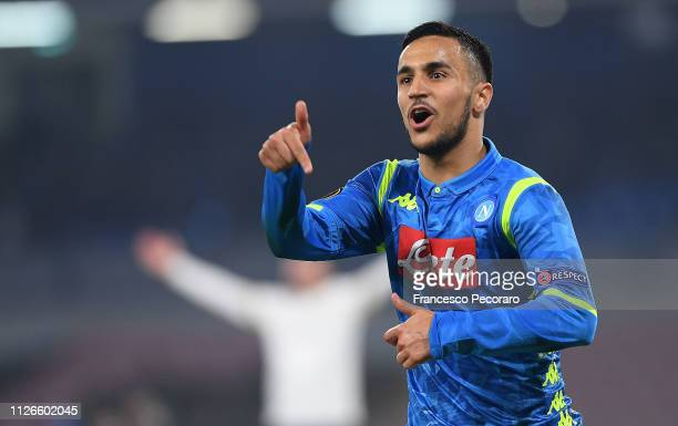Adam Ounas of SSC Napoli celebrates after scoring the 20 goal during the UEFA Europa League Round of 32 Second Leg match between SSC Napoli v FC...