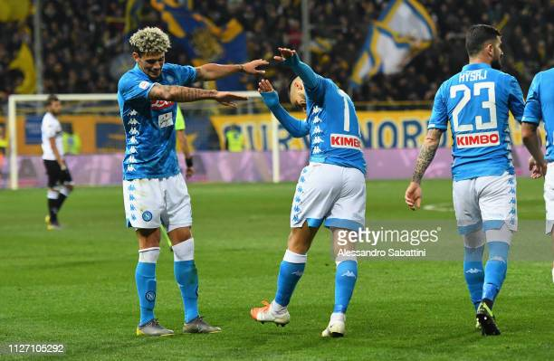 Adam Ounas of SSC Napoli celebrates after scoring the fourth goal during the Serie A match between Parma Calcio and SSC Napoli at Stadio Ennio...