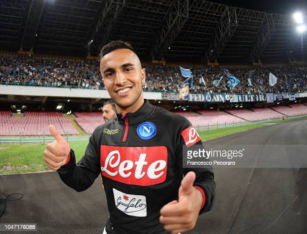 Adam Ounas of SSC Napoli celebrates the victory after the Serie A match between SSC Napoli and US Sassuolo at Stadio San Paolo on October 7 2018 in...
