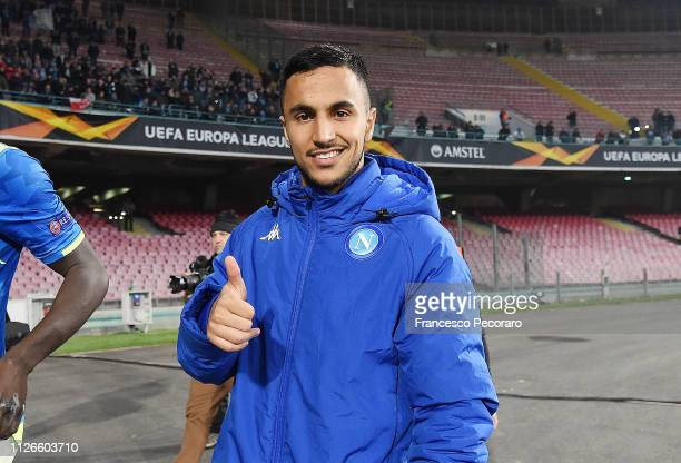 Adam Ounas of SSC Napoli celebrates the victory after the UEFA Europa League Round of 32 Second Leg match between SSC Napoli v FC Zurich at Stadio...
