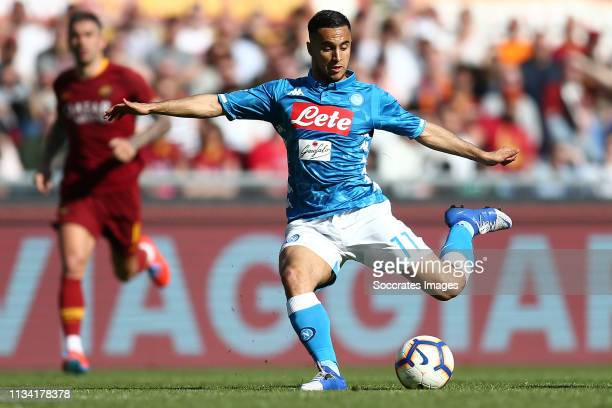 Adam Ounas of SSC Napoli during the Italian Serie A match between AS Roma v Napoli at the Stadio Olimpico Rome on March 31 2019 in Rome Italy
