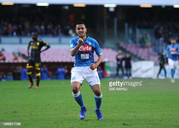 Adam Ounas of SSC Napoli during the Serie A match between SSC Napoli and Frosinone Calcio at Stadio San Paolo on December 8 2018 in Naples Italy
