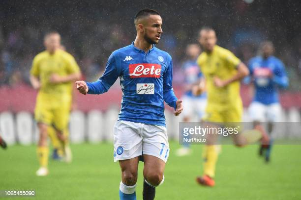 Adam Ounas of SSC Napoli during the Serie A TIM match between SSC Napoli and AC Chievo at Stadio San Paolo Naples Italy on 25 November 2018