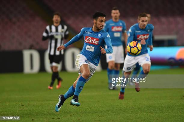 Adam Ounas of SSC Napoli during the Tim Cup match between SSC Napoli and Udinese Calcio at Stadio San Paolo Naples Italy on 19 December 2017