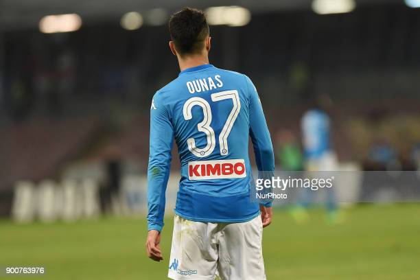 Adam Ounas of SSC Napoli during the Tim Cup match between SSC Napoli and Atalanta BC at Stadio San Paolo Naples Italy on 2 January 2018