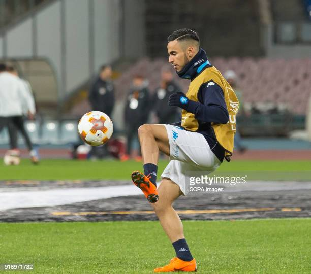 STADIUM NAPLES CAMPANIA ITALY Adam Ounas of SSC Napoli in action before the UEFA Europa League match between SSC Napoli and RB Lipsia at San Paolo...