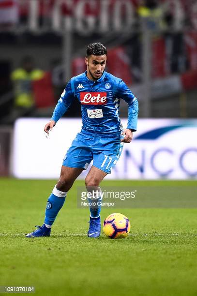 Adam Ounas of SSC Napoli in action during the Coppa Italia quarterfinal football match between AC Milan and SSC Napoli AC Milan won 20 over SSC Napoli