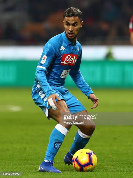 Adam Ounas of SSC Napoli in action during the Coppa Italia match between AC Milan and SSC Napoli at Stadio Giuseppe Meazza on January 29 2019 in...