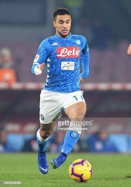 Adam Ounas of SSC Napoli in action during the Coppa Italia match between SSC Napoli and US Sassuolo at Stadio San Paolo on January 13 2019 in Naples...