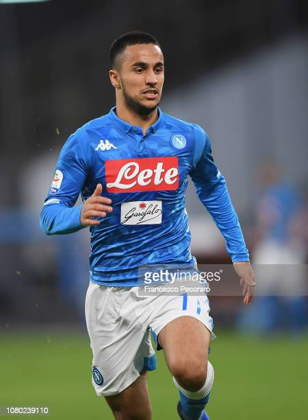 Adam Ounas of SSC Napoli in action during the Serie A match between SSC Napoli and Frosinone Calcio at Stadio San Paolo on December 8 2018 in Naples...