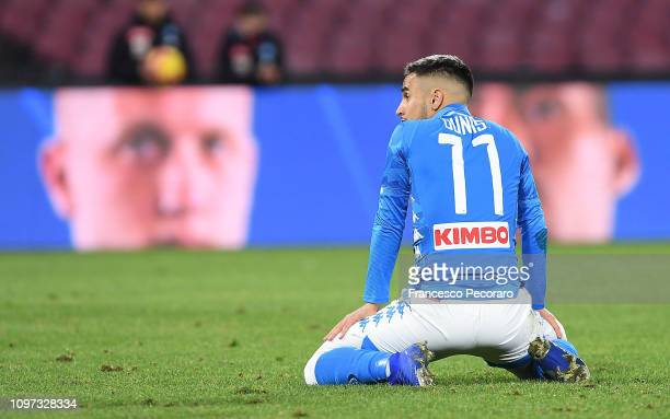 Adam Ounas of SSC Napoli in action during the Serie A match between SSC Napoli and SS Lazio at Stadio San Paolo on January 20 2019 in Naples Italy