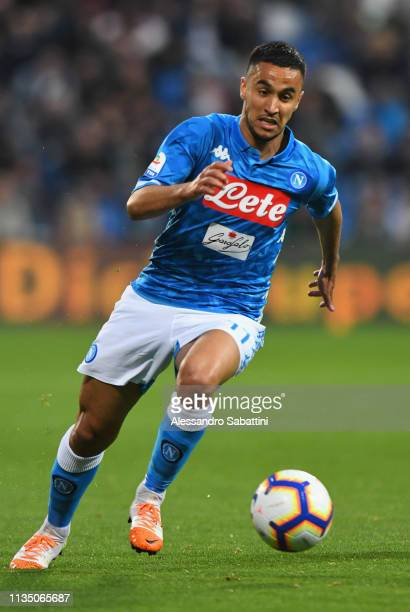 Adam Ounas of SSC Napoli in action during the Serie A match between US Sassuolo and SSC Napoli at Mapei Stadium Citta' del Tricolore on March 10 2019...