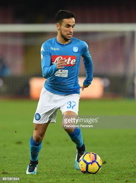 Adam Ounas of SSC Napoli in action during the TIM Cup match between SSC Napoli and Udinese Calcio at Stadio San Paolo on December 19 2017 in Naples...