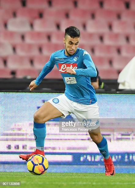 Adam Ounas of SSC Napoli in action during the TIM Cup match between SSC Napoli and Atalanta BC on January 2 2018 in Naples Italy