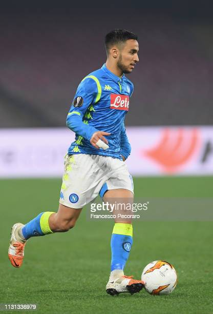 Adam Ounas of SSC Napoli in action during the UEFA Europa League Round of 32 Second Leg match between SSC Napoli v FC Zurich at Stadio San Paolo on...