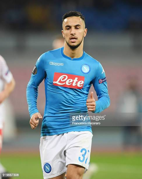 Adam Ounas of SSC Napoli in action during UEFA Europa League Round of 32 match between Napoli and RB Leipzig at the Stadio San Paolo on February 15...