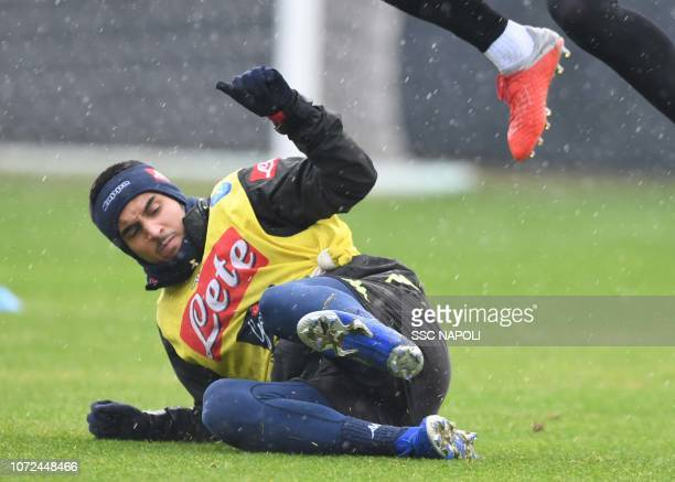 Adam Ounas of SSC Napoli in action on December 13 2018 in Naples Italy