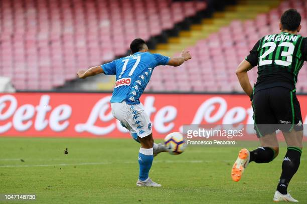 Adam Ounas of SSC Napoli scores the 10 goal during the Serie A match between SSC Napoli and US Sassuolo at Stadio San Paolo on October 7 2018 in...