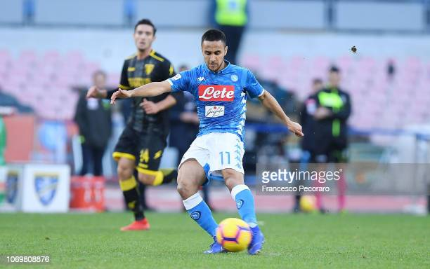 Adam Ounas of SSC Napoli scores the 20 goal during the Serie A match between SSC Napoli and Frosinone Calcio at Stadio San Paolo on December 8 2018...
