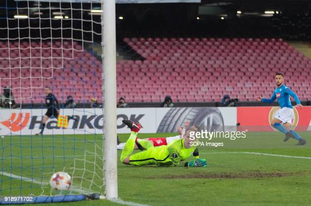 STADIUM NAPLES CAMPANIA ITALY Adam Ounas of SSC Napoli scoring the 12 during the UEFA Europa League match between SSC Napoli and RB Lipsia at San...
