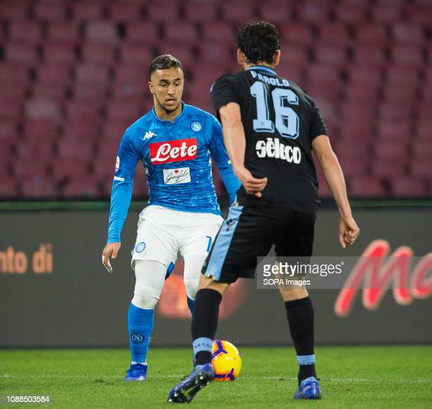 STADIUM NAPLES CAMPANIA ITALY Adam Ounas of SSC Napoli seen in action during the Serie A football match between SSC Napoli vs SS Lazio at San Paolo...