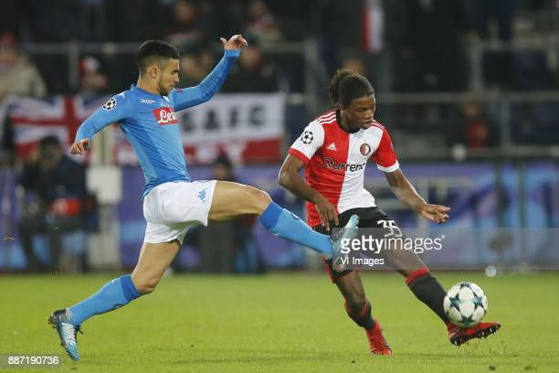 Adam Ounas of SSC Napoli Tyrell Malacia of Feyenoord during the UEFA Champions League group F match between Feyenoord Rotterdam and SSC Napoli at the...