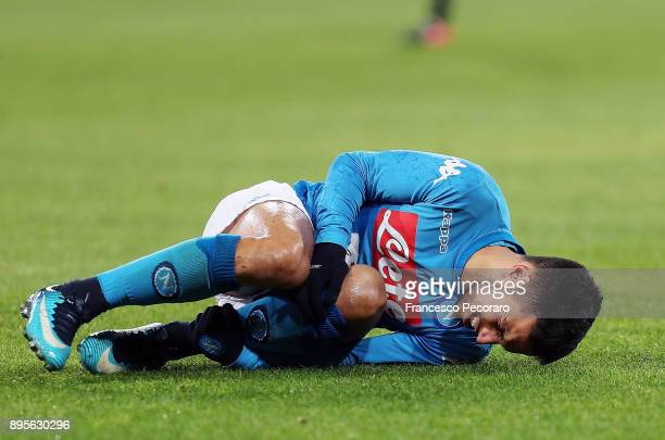 Adam Ounas player of SSC Napoli injured during the TIM Cup match between SSC Napoli and Udinese Calcio at Stadio San Paolo on December 19 2017 in...