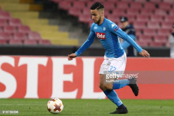 Adam Ounas shot goal during the Europe Ligue football SSC Napoli v RB Leipzing at S Paolo Stadium in Naples on February 15 2018