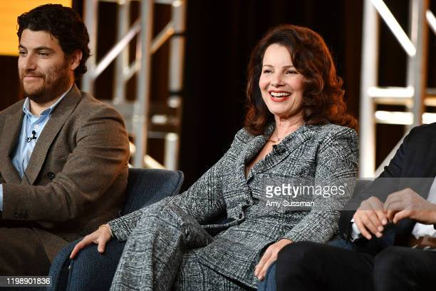 """Adam Pally and Fran Drescher of """"Indebted"""" speak during the NBCUniversal segment of the 2020 Winter TCA Press Tour at The Langham Huntington,..."""